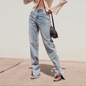Princess Polly Alabama Split Hem Jeans Light Wash